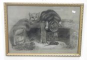 Many Drawings inc Mo Topham 1898 Charcoal drawing Curiosity