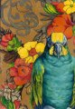 Amazon Parrot with Flowered Background