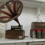 A Victorian Excelsior phonograph with horn and cylinders Est £200-£300