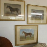 3 fine framed and glazed watercolours of horses (with label on reverse of one picture) by Bredwell 1882 Est £450-£550