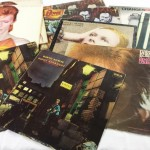 A collection of David Bowie LPs