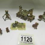A 7 piece Viennese cold painted bronze pug dog garden party - Vienna cold cast pug dog garden party Est £400-£500