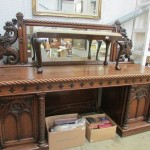 A Victorian carved oak double pedestal sideboard with mirror back Est £1,200-£1,500