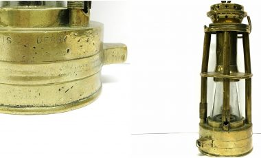 A rare late 19th Century all brass miners lamp by Davis of Derby