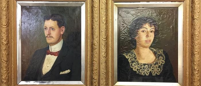 "Pair of Edwardian oil on canvas portraits probably husband and wife, signed A.E.White 1903 approx size of canvas 16"" x 20"" approximate size of frame 24 3/4"" x 29"""