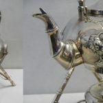 19th c white metal teapot