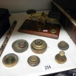 A mixed lot including postal scales, deed box etc