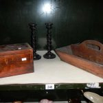 A cutlery tray, box and pair of candlesticks