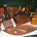A mixed lot of wooden items including boxes, one shelf