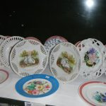 A mixed lot of plates including ribbon plates, one shelf