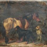 An oil on canvas standing horse with dogs portrait