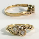 A 9ct yellow gold 2 stone crossover diamond ring, size M