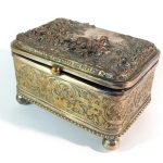 A French silver plated jewellery casket with lady on horse scene