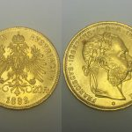 An 1892 gold Austrian 20 franc coin