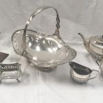 Many items of hallmarked silver including a Chinese tea set