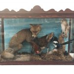 A cased Taxidermy display of a Fox, Cockerel, Magpie and Barn Owl