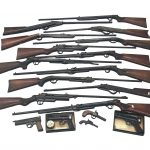 In excess of 50 guns and swords including Webley, B.S.A, rifles and pistols etc.