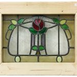 A small Victorian stained glass window. 50cm x 38cm with frame