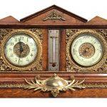 An oak case clock / barometer