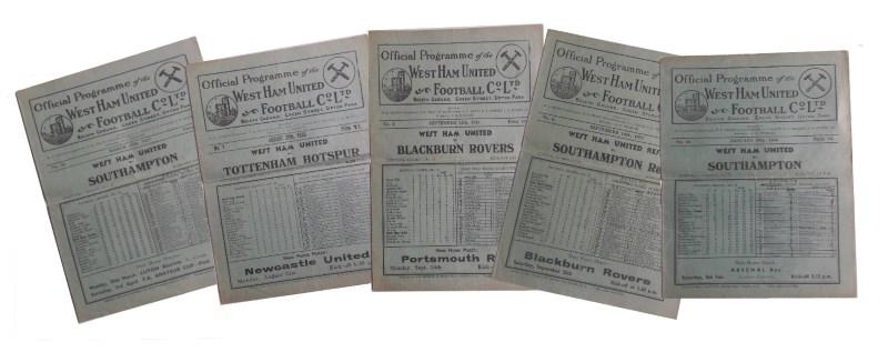 1930s west ham united football progarmmes