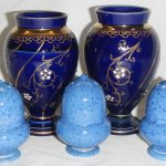 3 powder blue William Moorcroft pepper pots and a pair of James Macintyre & Co vases circa 1896