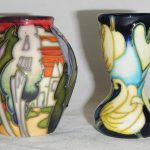 2 miniature Moorcroft vases
