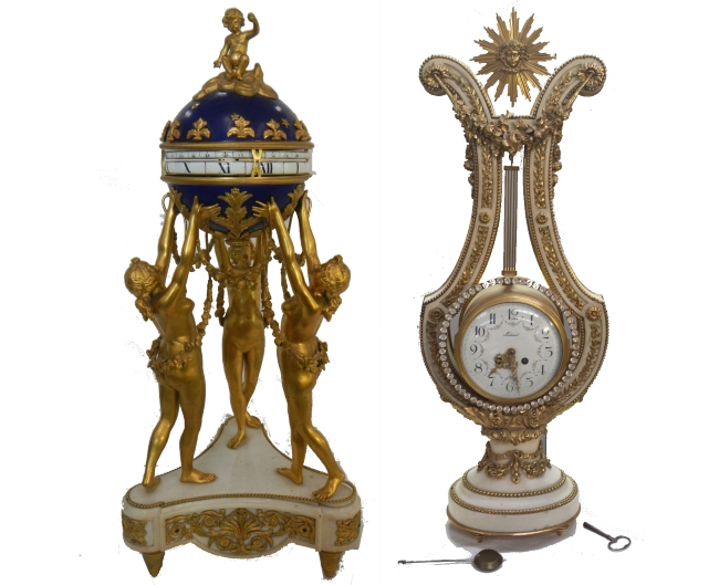 Lyre Clock and Louis XVI Style Cercle Tournant Clock