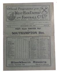 No.6 West Ham United RES v Southampton RES September 18th, 1937