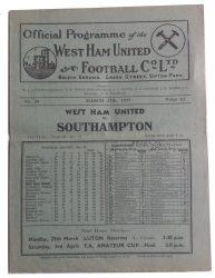 No.34 West Ham United v Southampton March 27th, 1937