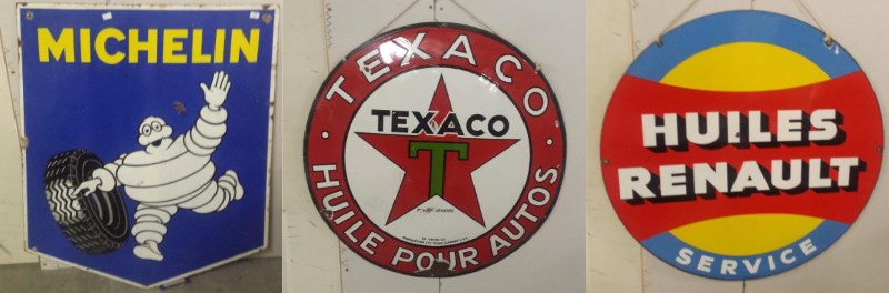 enamel signs michelin texaco huiles renault