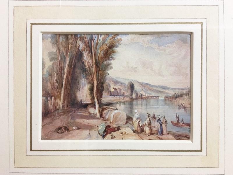 French River Scene Richard Parkes Bonington close up