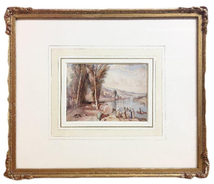 French River Scene painting attributed to Richard Parkes Bonington (1802-1828)