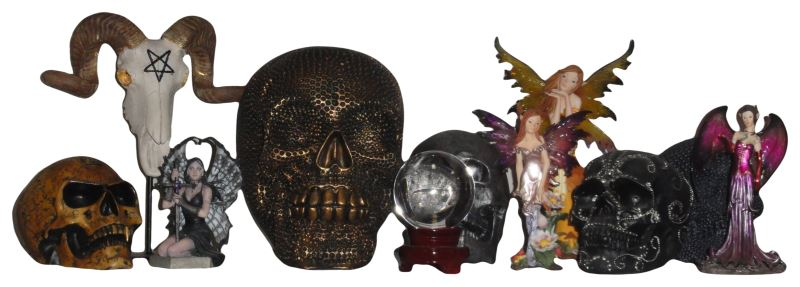 collection of gothic fantasy halloween items