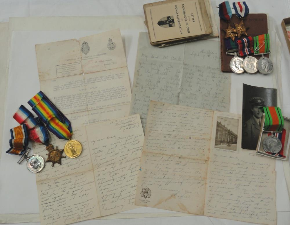 Unsung War Hero Medals and very interesting collection of related letters