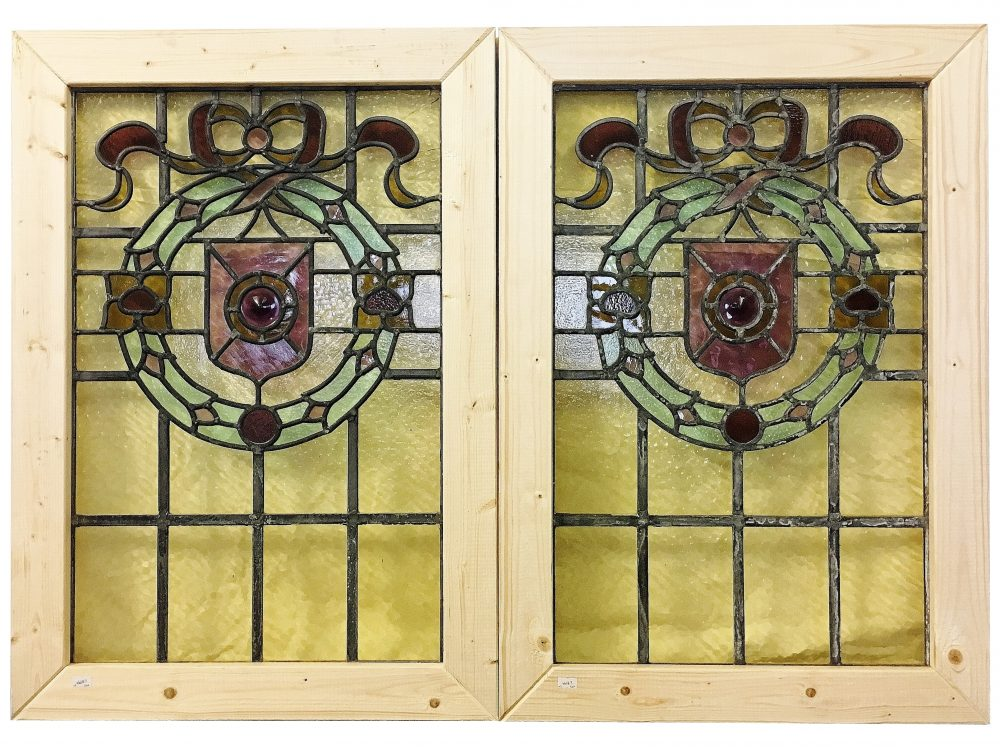 Architectural Salvage A pair of Victorian stained glass windows