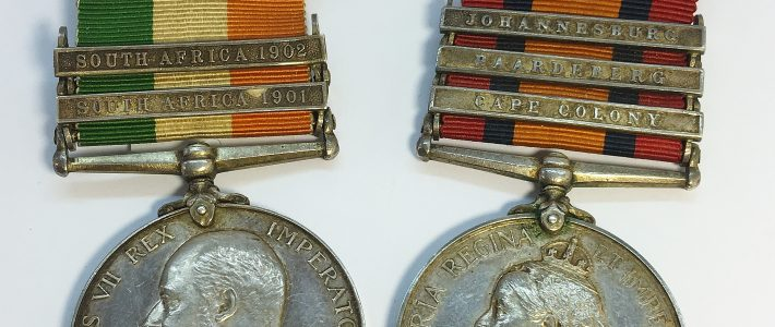 Victoria and Edward South Africa Medals for Pte Alcock Lincolnshire Regiment