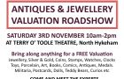 Antiques, Collectables & Jewellery Valuation Roadshow 3rd Nov at Terry O'Toole Theatre