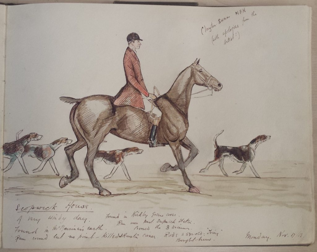 sketch from 1913 journal on lincolnshire hunts and rides
