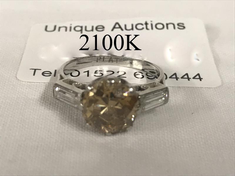 a fine 2ct champagne diamond ring on platinum