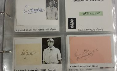 Excellent Cricket Memorabilia including autographs of Bradman, Jardine, Hobbs and Grace