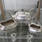 A 3 piece silver tea set