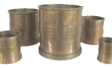 George IV A set of five bronze graduated measures featuring Lincoln Mayor James Snow 1826
