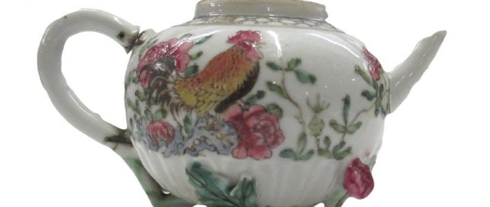 18th Century Chinese Famille Rose Moulded Porcelain Cockerel Teapot